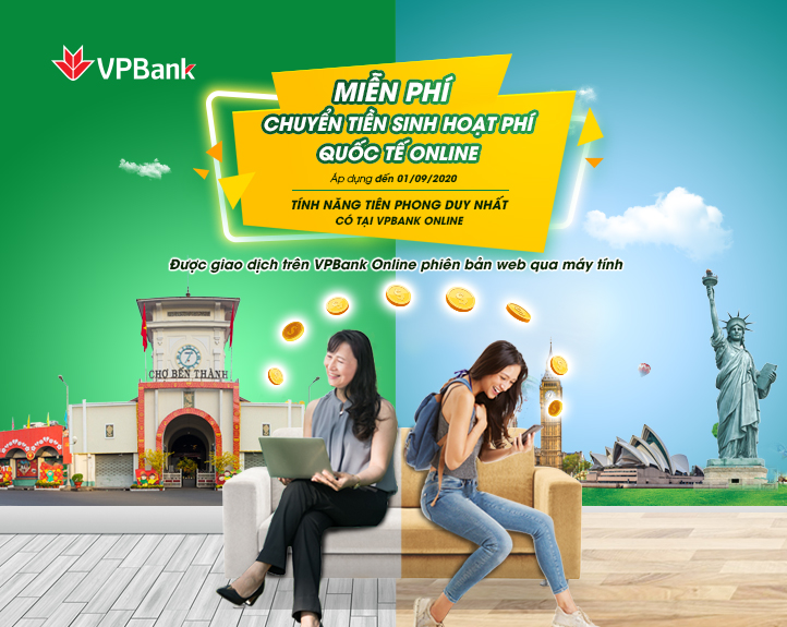 VPBank miễn phí chuyển tiền sinh hoạt quốc tế cho du học sinh trên VPBank Online