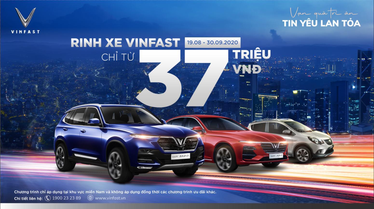 Mua xe VinFast chỉ với 37 triệu đồng đến hết ngày 30/9/2020