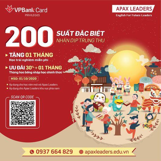 Thẻ Quốc tế VPBank tặng 30% học phí tại Apax Leaders