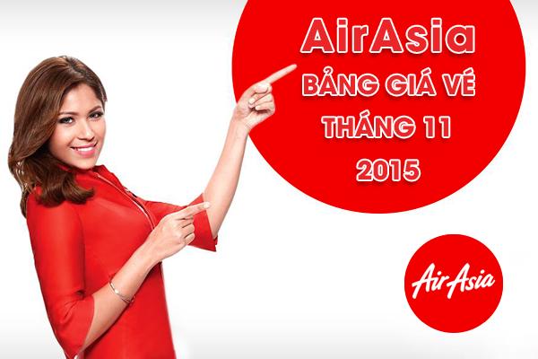 Bảng giá vé máy bay AirAsia tháng 11/2015