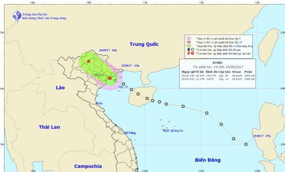 Tin áp thấp nhiệt đới trên đất liền các tỉnh phía Bắc