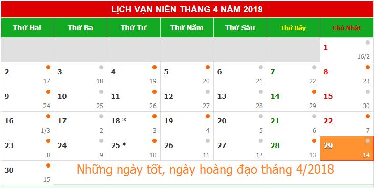 Những ngày tốt, ngày hoàng đạo trong tháng 4/2018