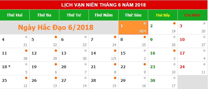 Những ngày xấu, ngày hắc đạo trong tháng 6/2018