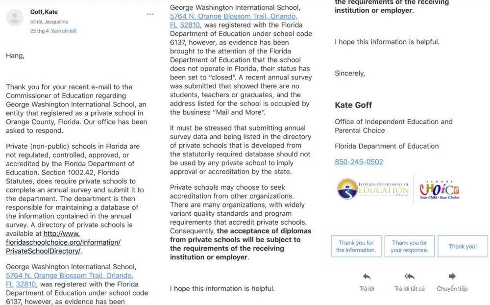 Thư trả lời về GWIS của Sở Giáo dục Floria, khẳng định trường này không có học sinh, không có giáo viên và giáo trình.