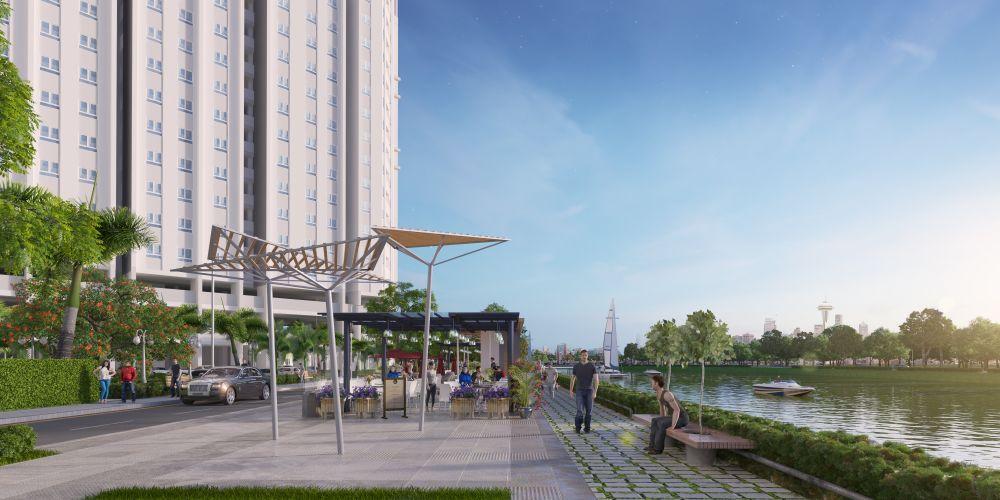 Công viên bờ sông thoáng đãng, thanh bình trong khu căn hộ Marina Riverside