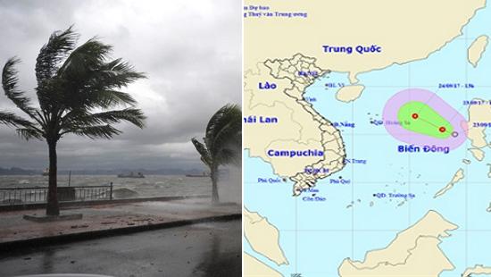 Xuất hiện áp thấp nhiệt đới mạnh cấp 7-8 trên Biển Đông