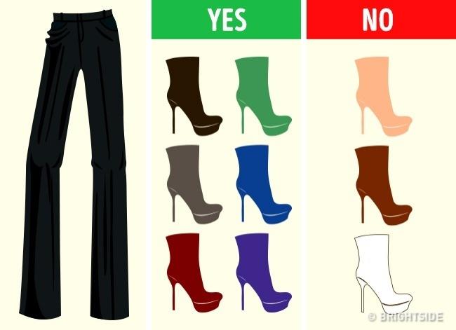 Bí quyết phối màu chuẩn giữa quần áo và giày dép