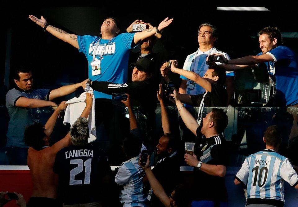 Khoảnh khắc ăn mừng chiến thắng khi Argentina ghi bàn.