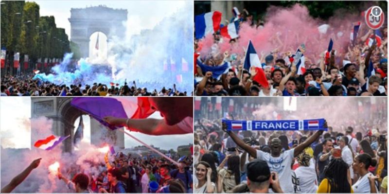 Người hâm mộ Pháp rộn ràng ăn mừng chiến thắng World Cup 2018
