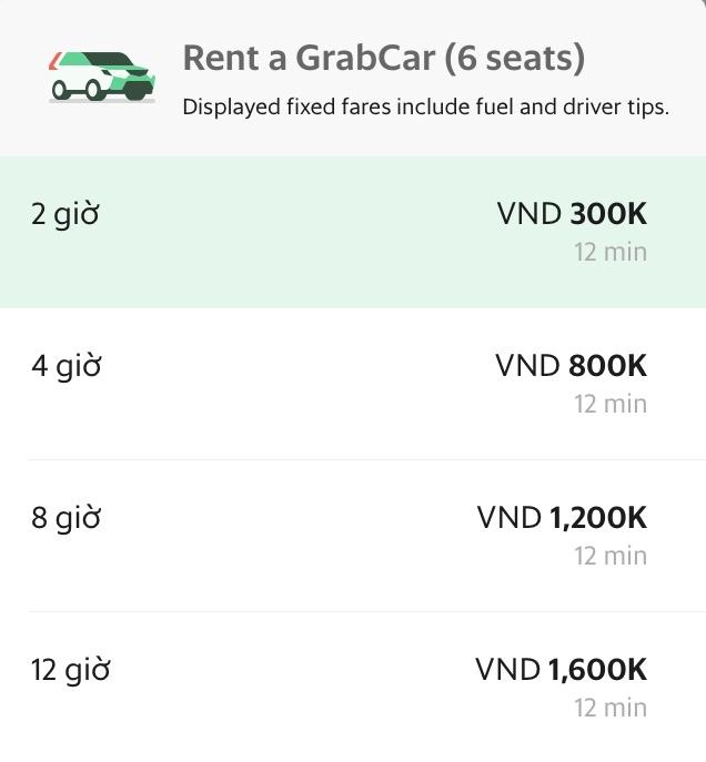 Bảng giá dịch vụ cho thuê xe của Grab