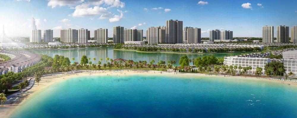 Toàn cảnh đại đô thị VinCity Ocean Park với điểm nhấn là hồ nước mặn.
