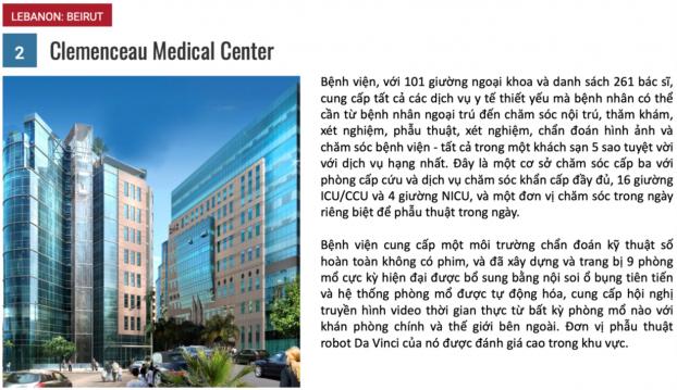 10 bệnh viện du lịch y tế tốt nhất năm 2018 1