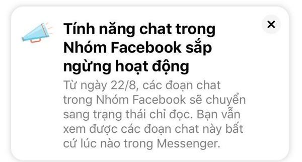 Thực hư tính năng chat trong Nhóm Facebook sắp ngừng hoạt động