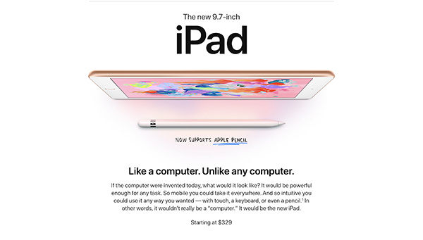 Apple ra mắt iPad 9,7 inch giá 299 USD cho học sinh