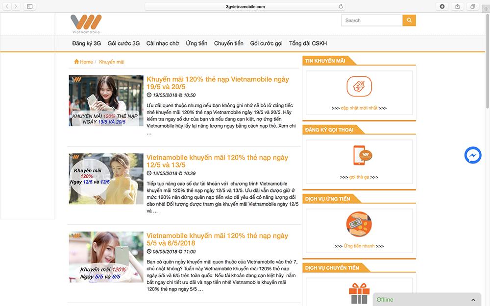 Trang chủ của nhà mạng Vietnamoblie vẫn xuất hiện những thông báo khuyến mại khủng.