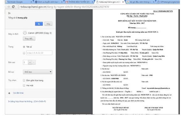 Các bước thử nghiệm đăng ký tuyển sinh trực tuyến vào lớp 6 ở Hà Nội