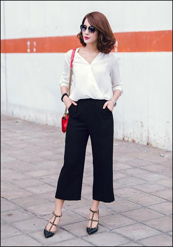 Kết hợp quần culottes với áo sơ mi