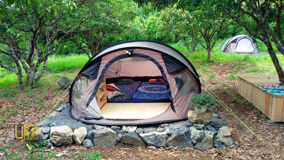 Bạn có thể thuê sẵn lều hoặc thuê địa điểm để dựng lều và ăn theo thực đơn tại đây hoặc tự mang đồ ăn.