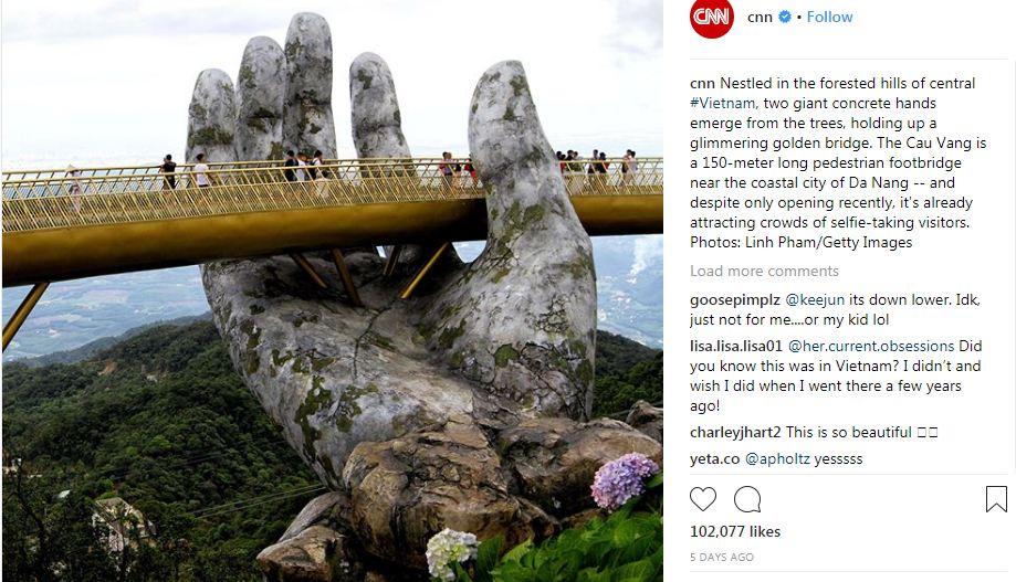 Hình ảnh Cầu Vàng đầy ấn tượng trên Instagram của CNN.
