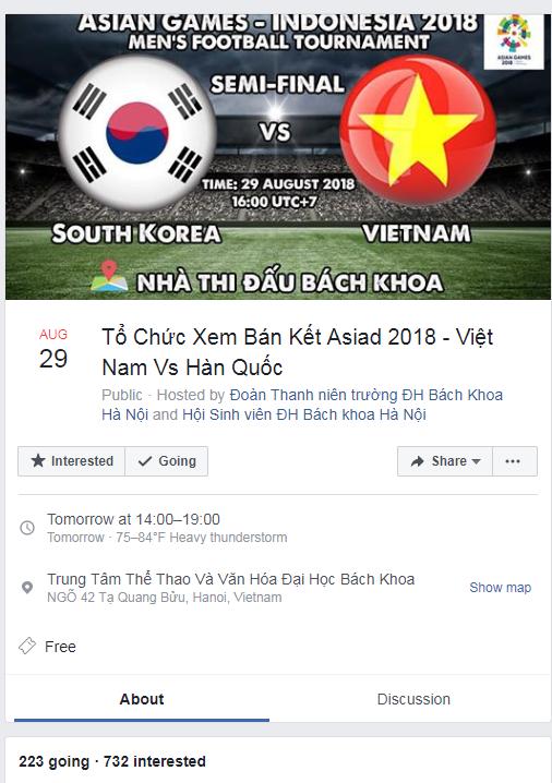Tiếp lửa Olympic Việt Nam, nhiều trường ĐH tổ chức cho sinh viên xem trận bán kết ASIAD