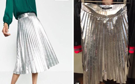 Váy xếp li ánh kim trendy bỗng làm người ta down mood khi ở ngoài chẳng khác gì tờ giấy gói quà xếp bèo nhèo.