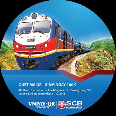 Nhập mã QR - Giảm ngay 100.000 đồng khi mua vé tàu online cùng SCB