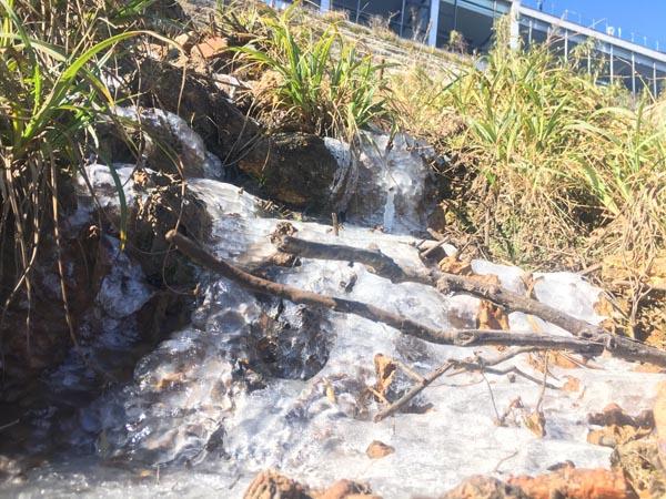 Nhiệt độ xuống sâu những ngày này, có khi tới -3 độ vào ban đêm khiến những dòng nước tự nhiên trên đỉnh Fansipan hóa băng và tạo thành những dòng suối băng trắng lạ mắt.