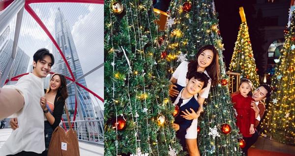 Các tòa nhà chọc trời và cây thông lung linh mang đến phông nền chụp ảnh như ở nước ngoài