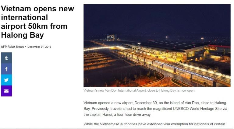 Truyền thông quốc tế đặc biệt chú ý tới sân bay Vân Đồn