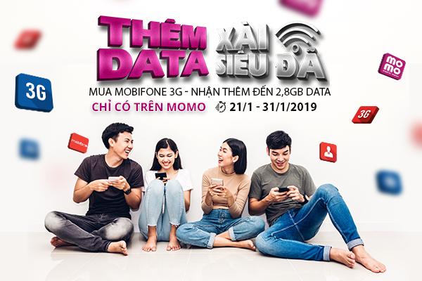 Mua MobiFone 3G trên Ví MoMo, nhận thêm đến 2.800MB Data