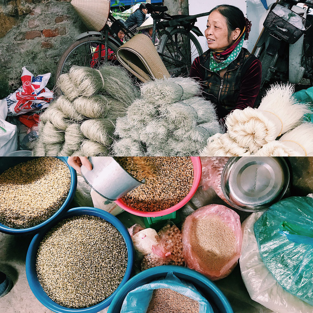 Từ đồ khô như măng, miến cho đến hạt đỗ, hạt tiêu xay, tất cả đều được người bán đon đả mời khách.