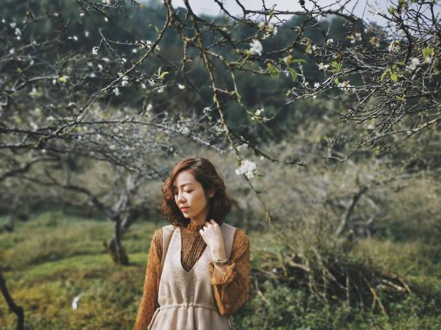 Ngắm hoa mận Mộc Châu những ngày cuối năm đẹp bình yên trong bộ ảnh của cô gái trẻ 8