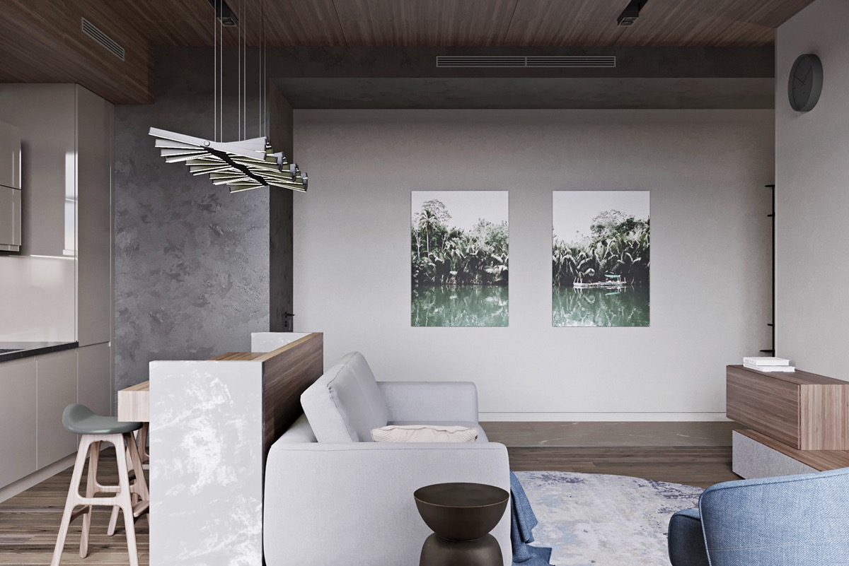 Mẫu thiết kế nội thất tông màu xám tối ưu diện tích cho căn hộ nhỏ