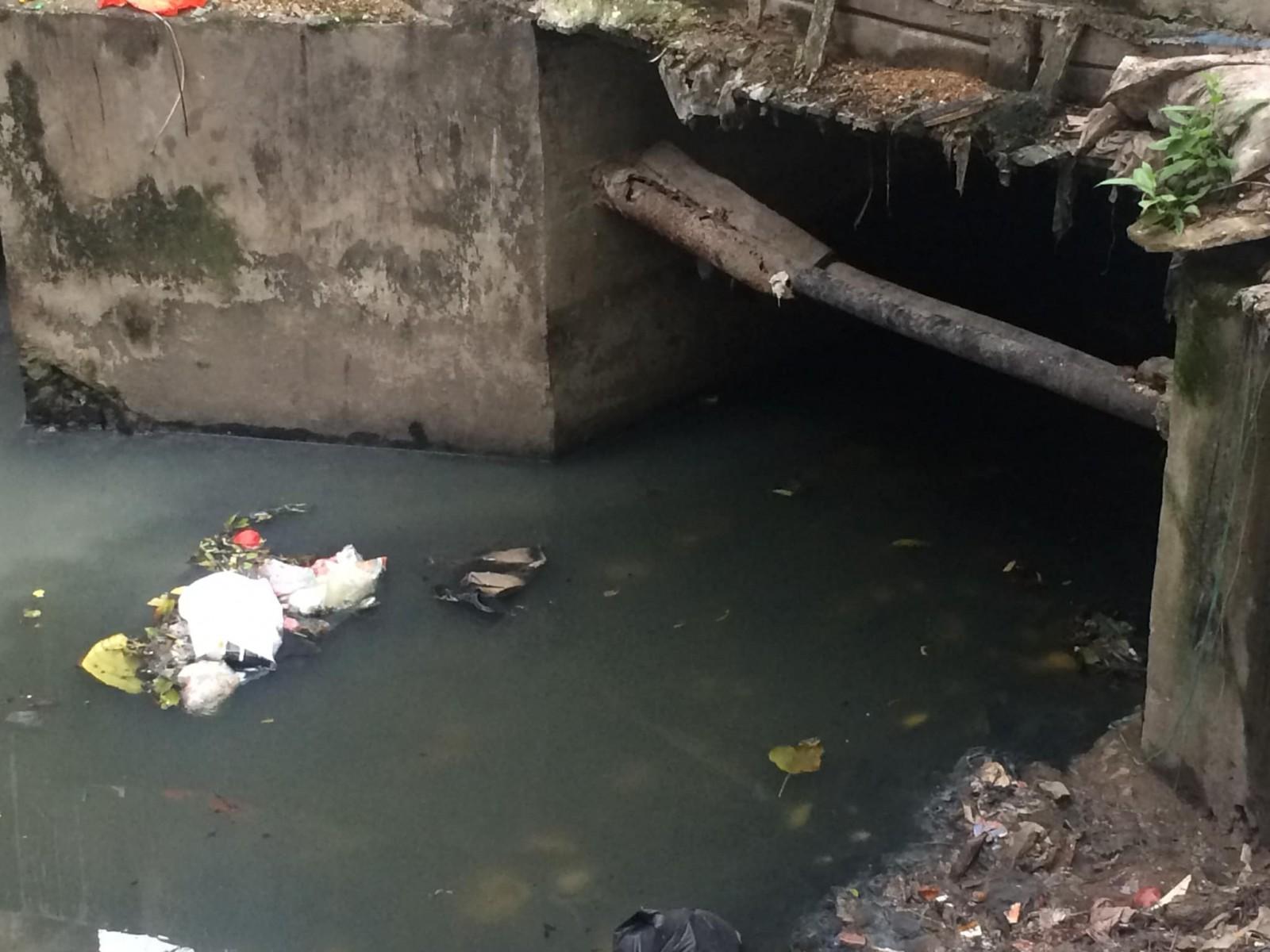 Ảnh 8 : Bên cạnh nguồn nước bị tắc nghẽn, theo phản ảnh của những người dân xung quanh khu Đền Vạn Phúc, nơi đây cũng bị ô nhiễm, tắc nghẽn trong việc xử lí nước thải bởi rác thải mà nhiều người mang đến