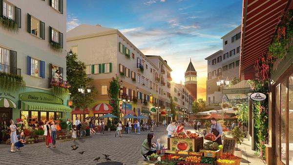 Dãy phố thương mại sầm uất của Sun Premier Village Primavera.
