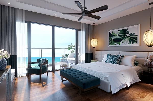 Condotel Mövenpick Resort Waverly Phú Quốc có tầm nhìn vô tận hướng ra biển, hồ.