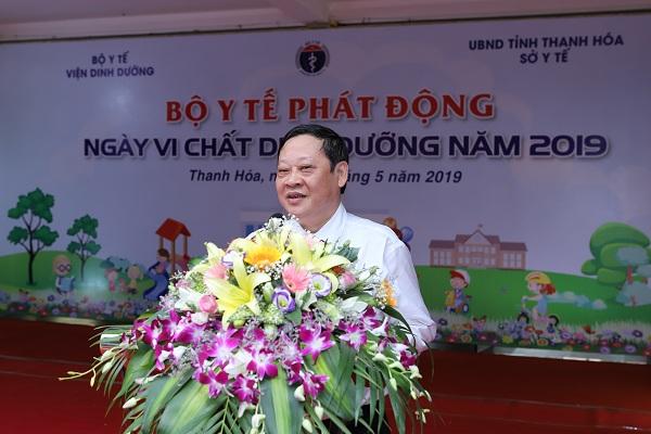 GS.TS Nguyễn Viết Tiến – Thứ trưởng thường trực Bộ Y Tế phát biểu về tình trạng suy dinh dưỡng của trẻ em Việt Nam và nhấn mạnh vai trò quan trọng của việc bổ sung các vi chất dinh dưỡng.