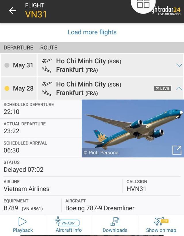 Chuyến bay VN031 từ TP.HCM đến Đức của Vietnam Airlines đã bị delay đến 72 phút