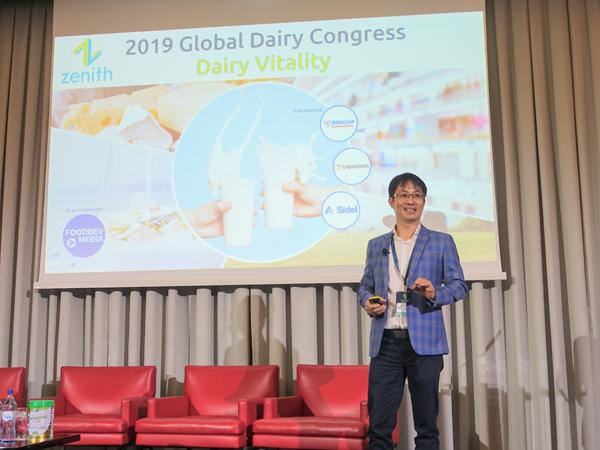 Ông Phan Minh Tiên, Giám đốc Điều hành Vinamilk, trình bày tại Hội nghị Sữa toàn cầu 2019 diễn ra tại Bồ Đào Nha.