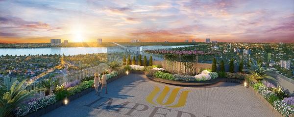Không gian khoáng đạt view sông Hồng đắt giá của dự án.