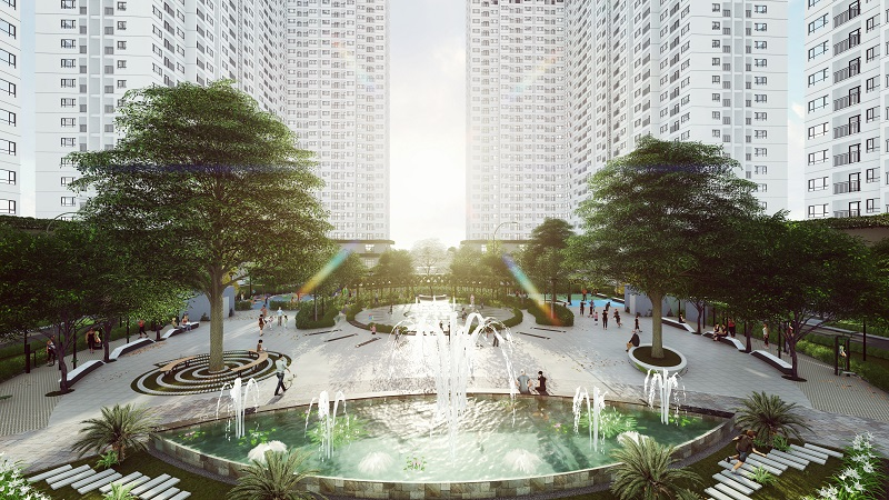 Dự án EcoHome 3 (tòa NO2, NO3) với điểm nhấn về cảnh quan như sân vườn tầng mái, quảng trường, đường dạo, vườn nghệ thuật, 800 cây xanh, đài phun nước… giúp giảm 1-2 độ C so với môi trường xung quanh, tạo không gian đẹp mắt, mát mẻ và thư giãn.