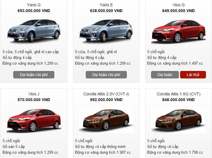 Bảng giá xe ô tô Toyota loại 4 - 5 chỗ tháng 3/2016