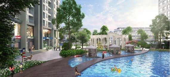 Bể bơi trung tâm dài 50m tại khu căn hộ The Arcadia – Vinhomes Gardenia.