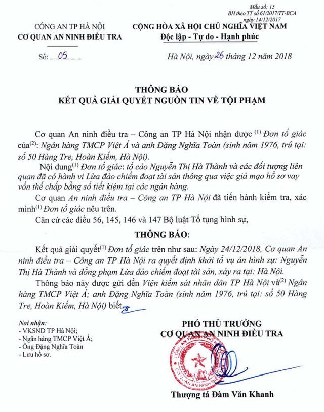 Thông báo khởi tố vụ án của Công an TP. Hà Nội