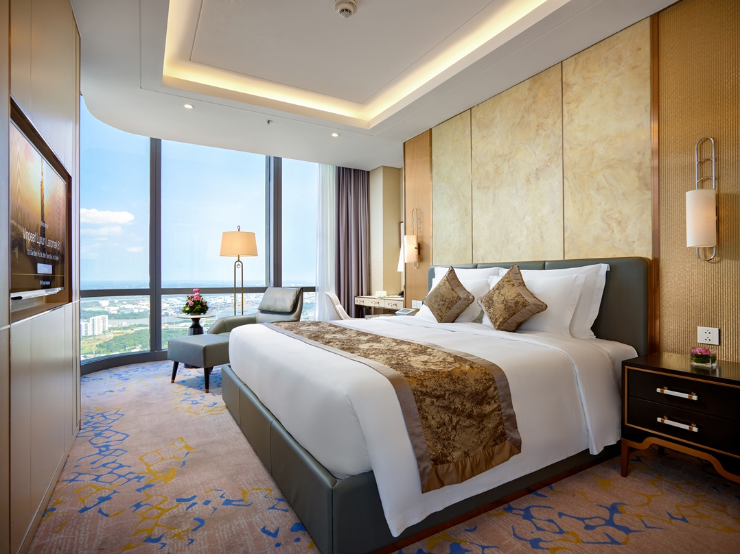Không gian phòng nghỉ sang trọng của Vinpearl Luxury đặt biệt mang đến phong cách nghỉ dưỡng thượng lưu