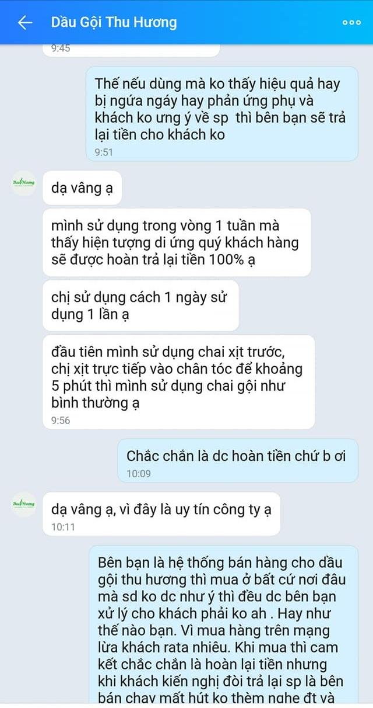Tin nhắn trao đổi giữa chị Bình và nhân viên của Dầu gội Thu Hương