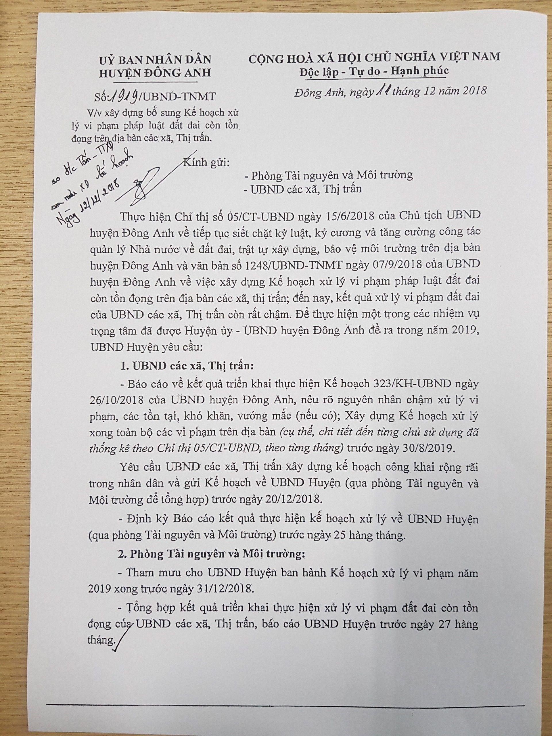 UBND huyện Đông Anh đã có chỉ đạo xử lý đến hết 30/8/2019