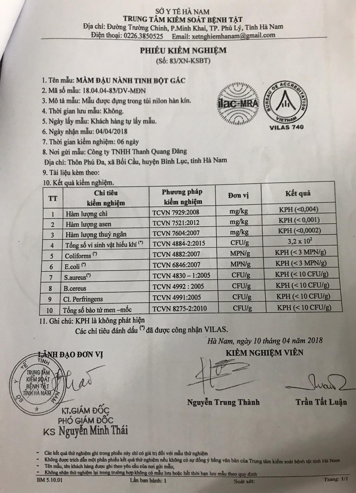Công ty TNHH Thanh Quang Đăng chỉ gửi duy nhất phiếu kiểm nghiệm Mần đầu nành tinh bột gấc cho Chi cục An toàn vệ sinh Thực phẩm tỉnh Hà Nam