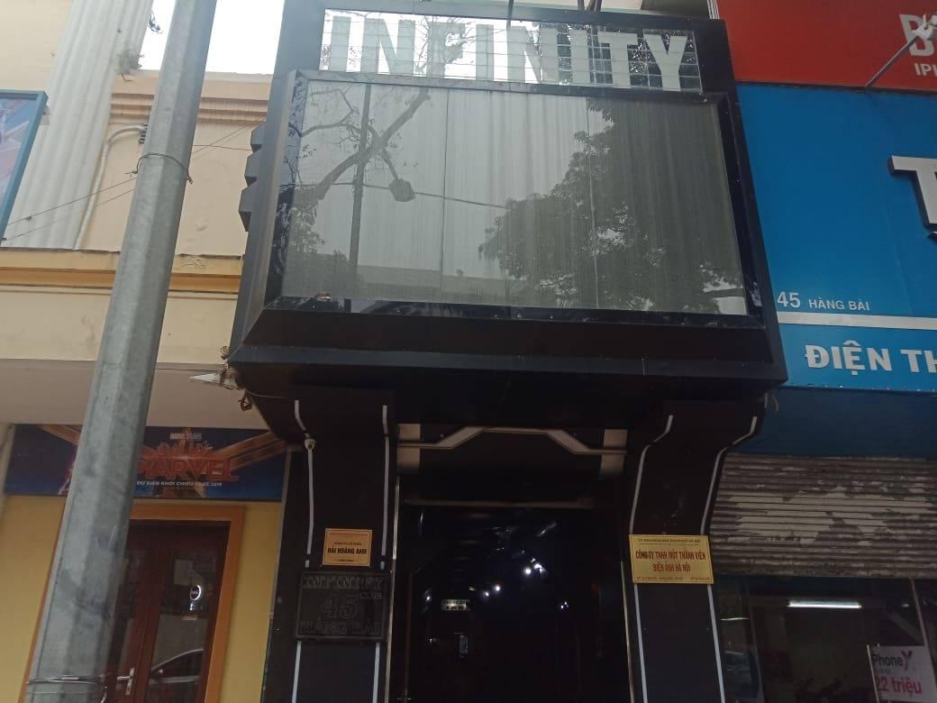 Cơ sở Infinity Club - quán bar Infinity, số 45 Hàng Bài, quận Hoàn Kiếm, tp Hà Nội.