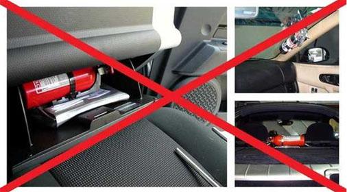 Không nên để bình cứu hỏa bừa bãi trên ô tô